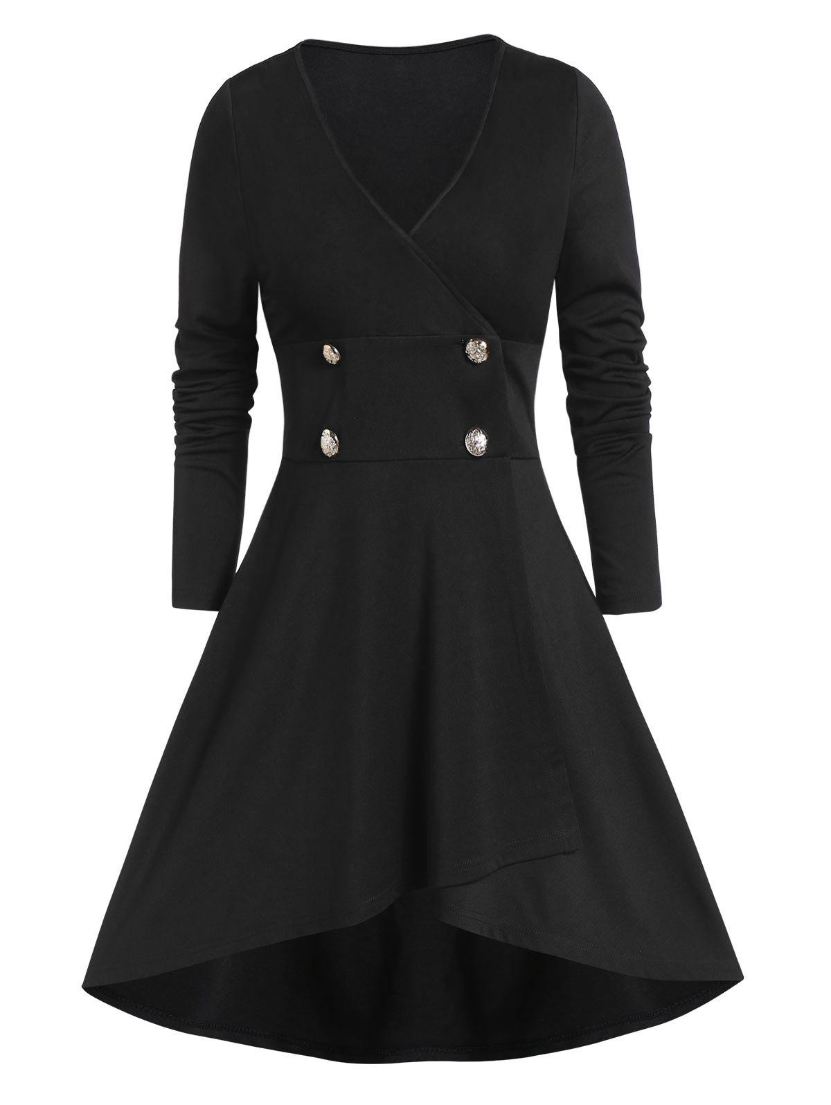Solid Longline High Low Coat - BLACK L