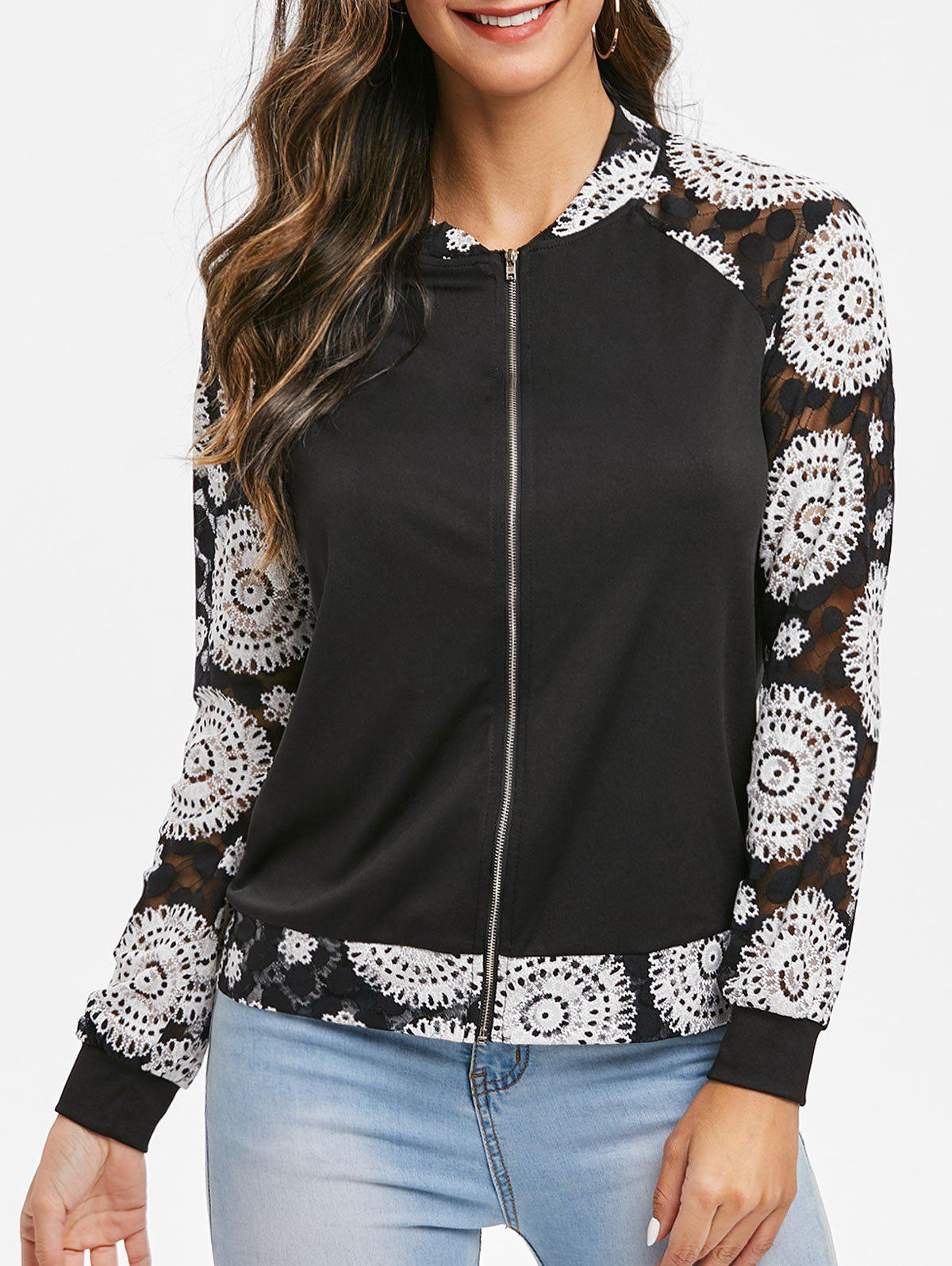 Floral Print Raglan Sleeve Zippered Coat - BLACK 2XL
