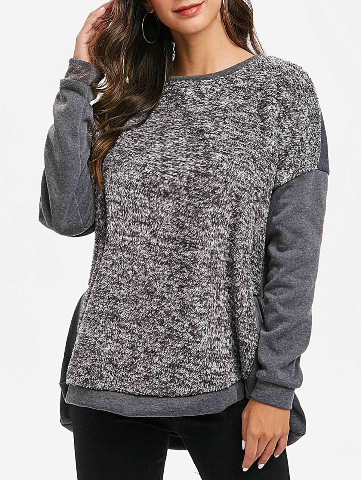 Drop Shoulder Faux Fur Insert High Low Sweatshirt - GRAY 3XL