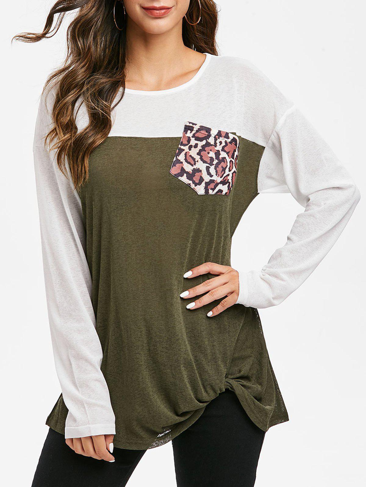 Leopard Pocket Colorblock Twist Knitted Top - CAMOUFLAGE GREEN XL