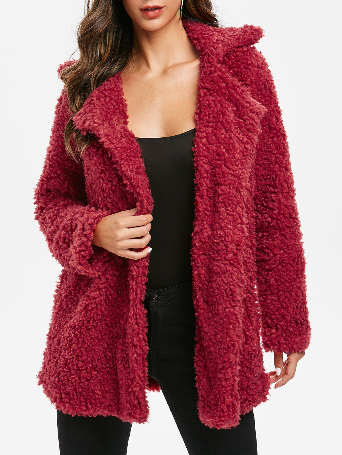 Invisible Button Solid Faux Fur Coat - RED WINE 2XL