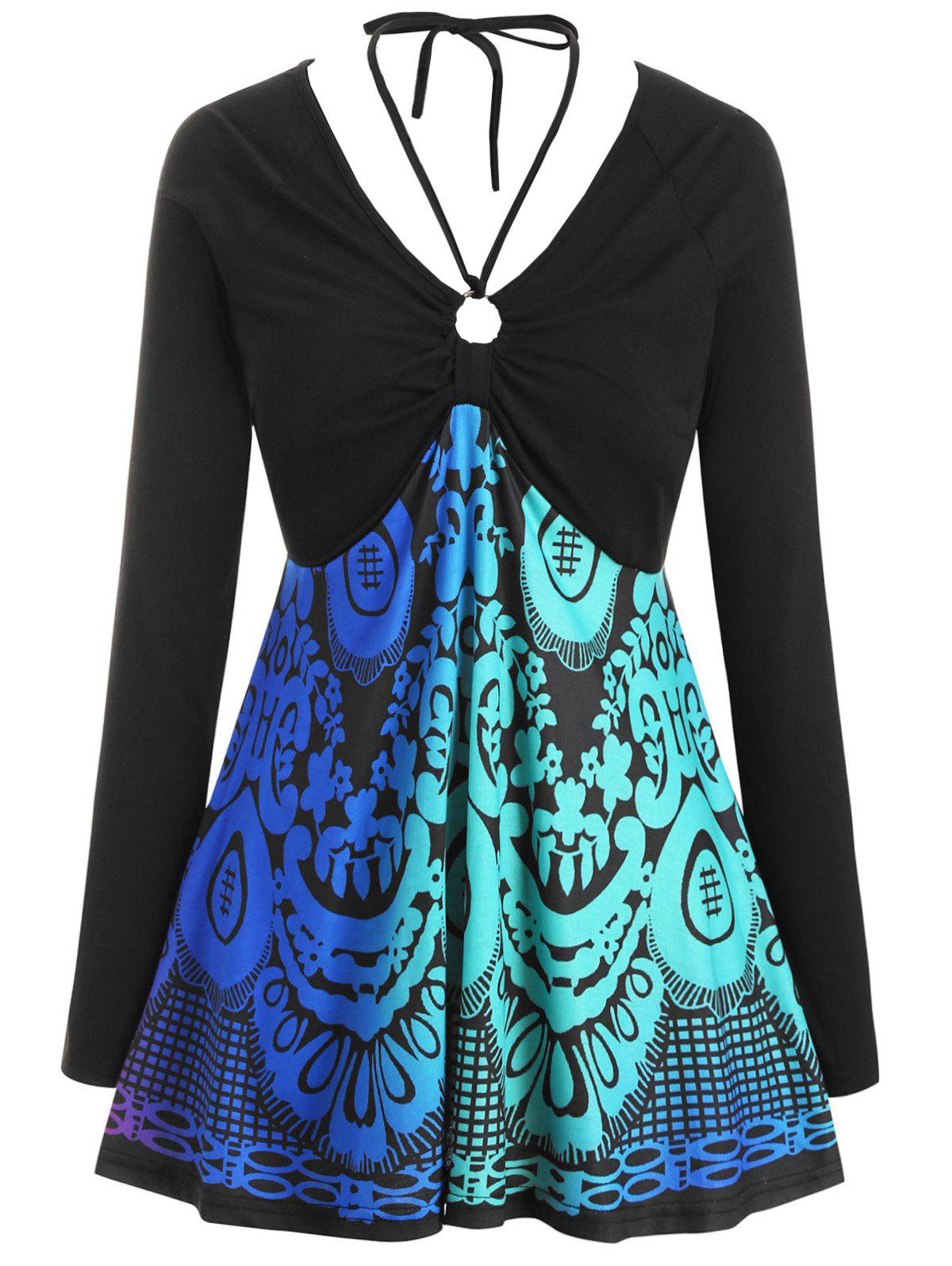 Printed O Ring Tie Collar Long Sleeve Plus Size Top - BLACK 5X
