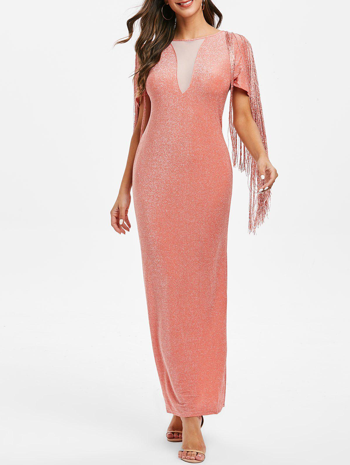 Glitter Fringed Mesh Panel Maxi Bodycon Dress - ORANGE PINK S