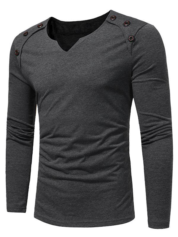 Notch Neck Solid Button Long Sleeve T-shirt