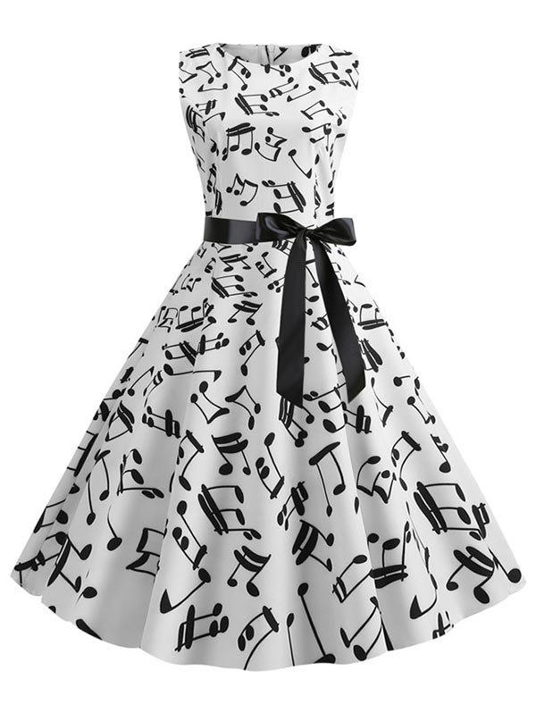 Musical Notes Sleeveless Belted Flare Dress - WHITE XL