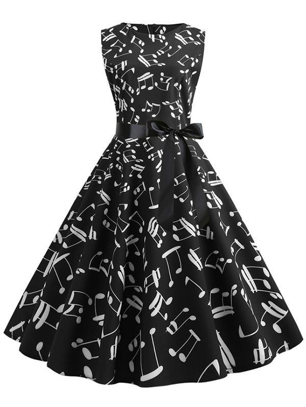 Musical Notes Sleeveless Belted Flare Dress - BLACK M