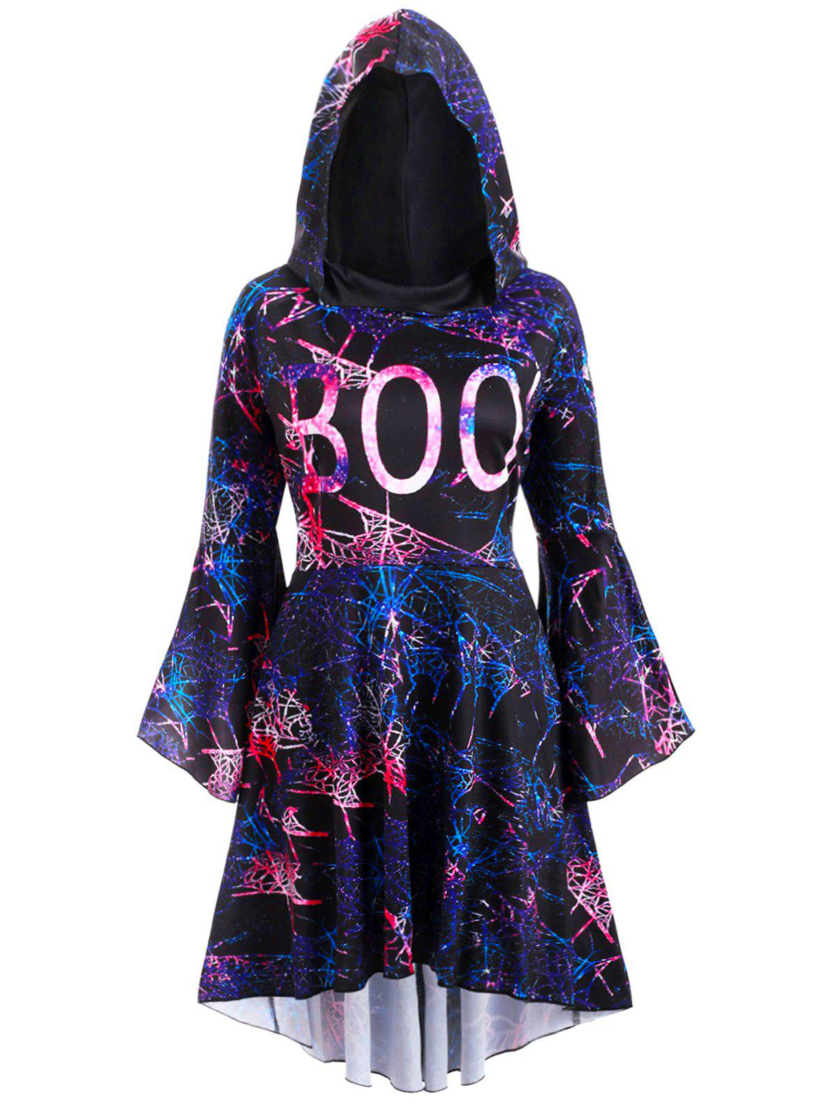 Galaxy Print Flare Sleeve High Low Hooded Plus Size Dress - BLACK 2X