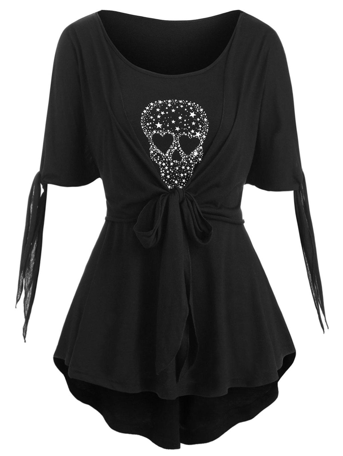 Skull Star Knotted High Low Halloween Plus Size Top - BLACK L