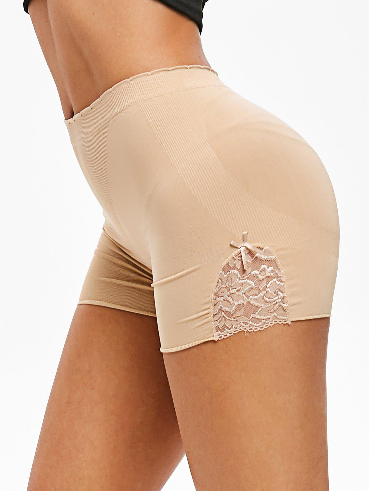 Lace Panel Bowknot Slip Shorts - BROWN SUGAR ONE SIZE