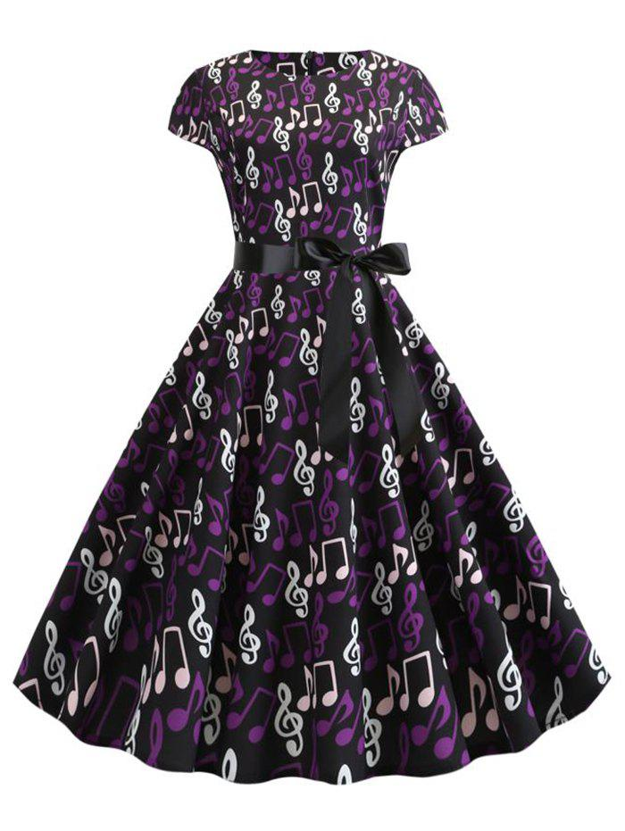 Cap Sleeves Musical Notes Belted A Line Dress - BLACK 2XL