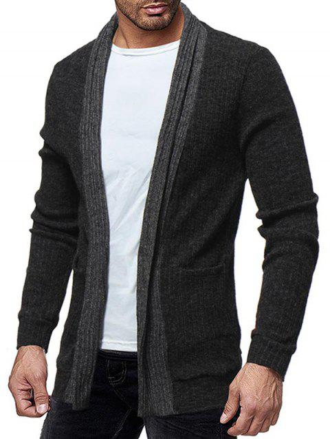 Two Pocket Knitted Open Front Cardigan - DARK GRAY M