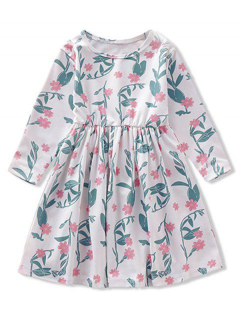 Girls Floral Print Long Sleeve A Line Dress - WHITE 130