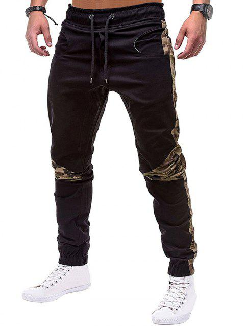 Camouflage Print Spliced Drawstring Jogger Pants - BLACK 3XL