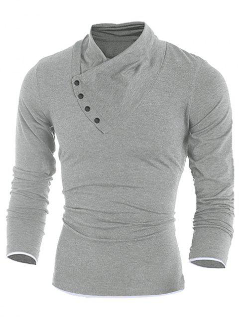 Contrast Hem Long Sleeve Casual T-shirt - LIGHT GRAY S