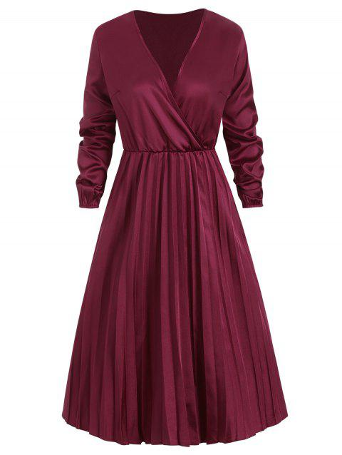 Robe Plissée Superposée à Col V en Satin - Rouge Vineux L