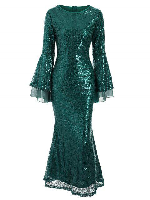 Flare Sleeves Sequined A Line Maxi Dress - GREEN L