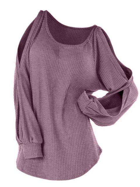 Plus Size Raglan Split Sleeve Knitwear - PALE VIOLET RED L