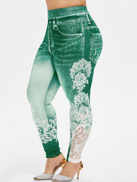 Plus Size 3D Print Lace Insert Jeggings - MACAW BLUE GREEN 5X