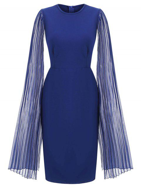 Pleated Split Sleeves Chiffon Panel Sheath Dress