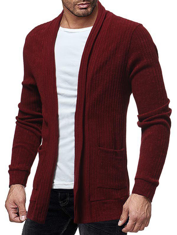 Two Pocket Knitted Open Front Cardigan - RED WINE S