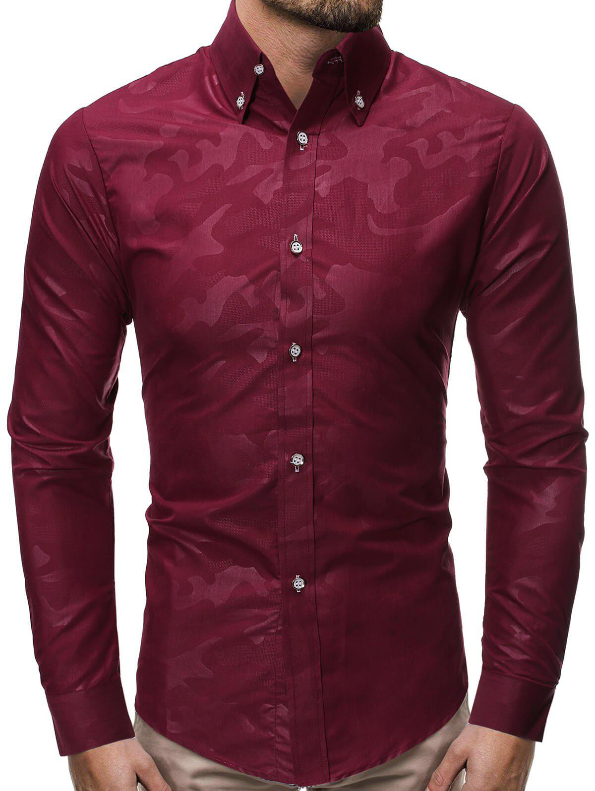 Camouflage Print Curved Hem Button Slim Fit Shirt - RED WINE M