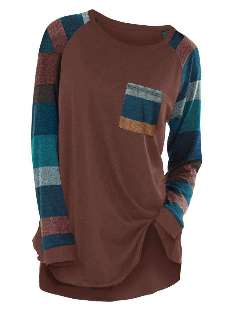 Striped Raglan Sleeve Pocket Longline T-shirt - COFFEE L