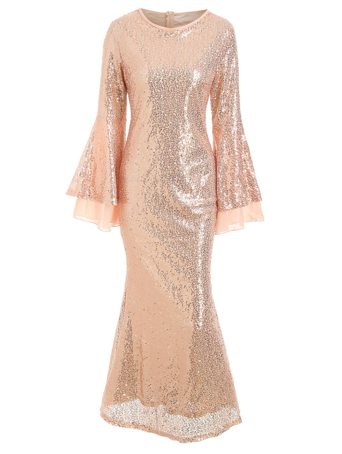 Flare Sleeves Sequined A Line Sparkly Maxi Dress - CHAMPAGNE GOLD L