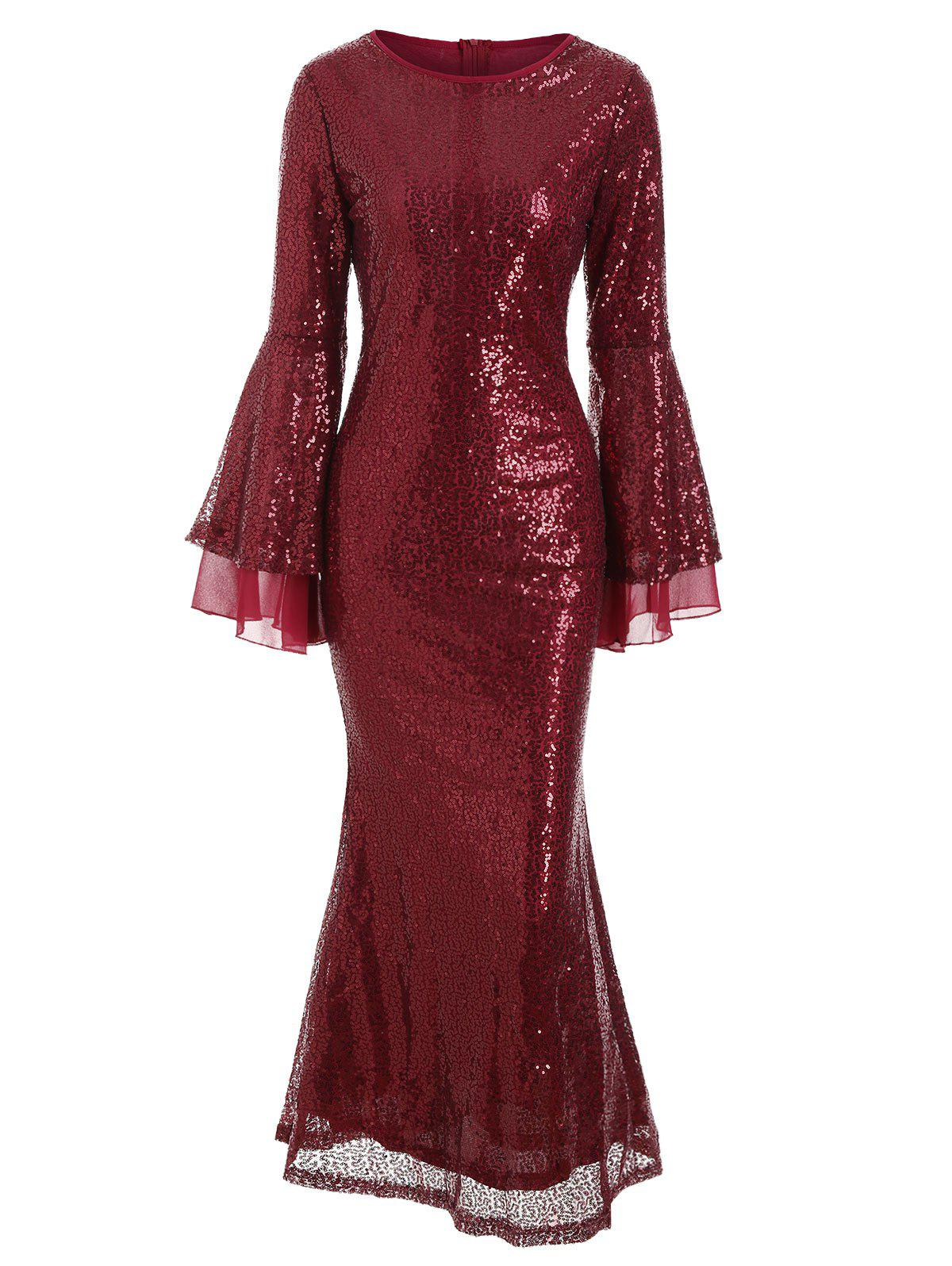 Flare Sleeves Sequined A Line Sparkly Maxi Dress - RED WINE M