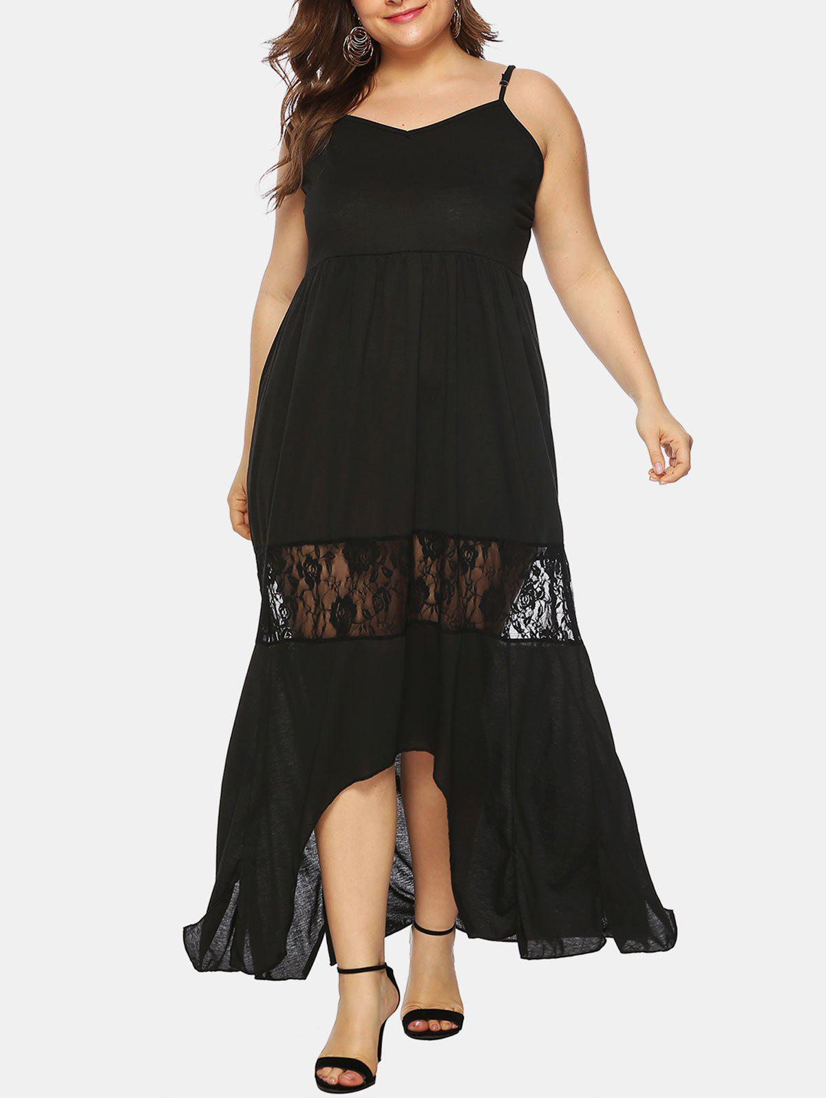 High Low Lace Panel Cami Plus Size Maxi Dress - BLACK 1X
