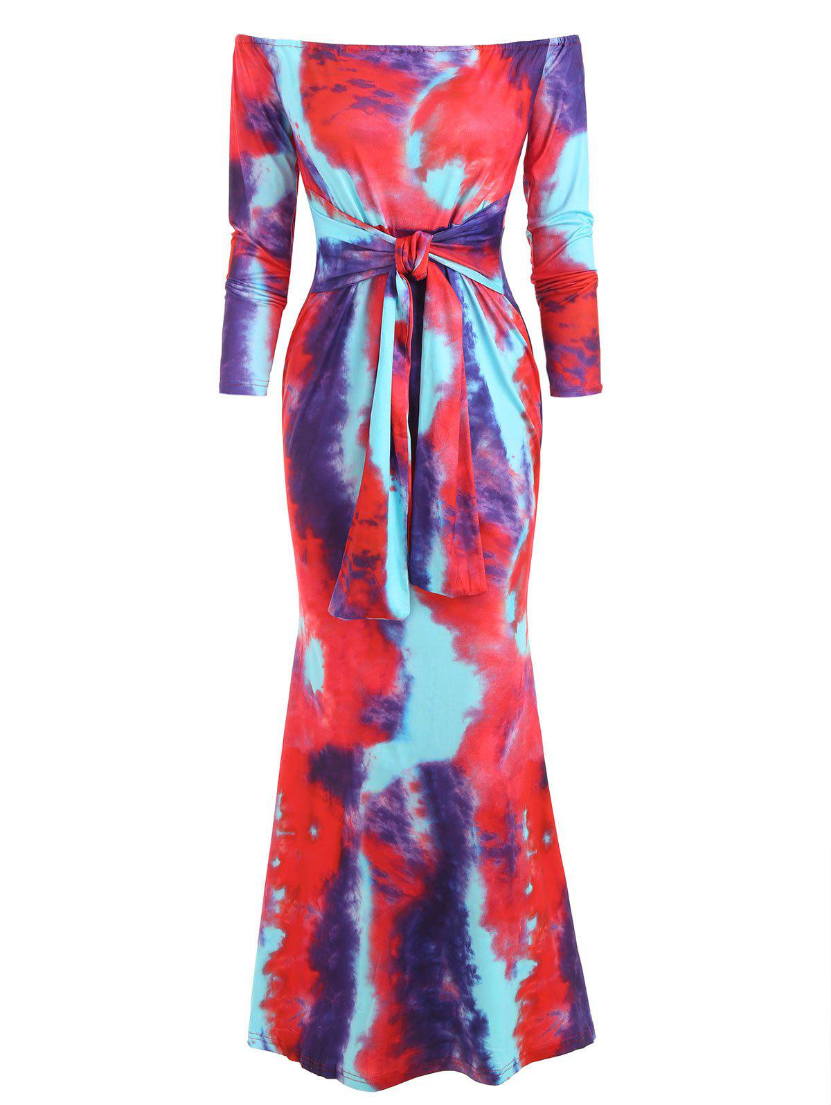 Off Shoulder Tie Dye Knotted Maxi Dress - RED S