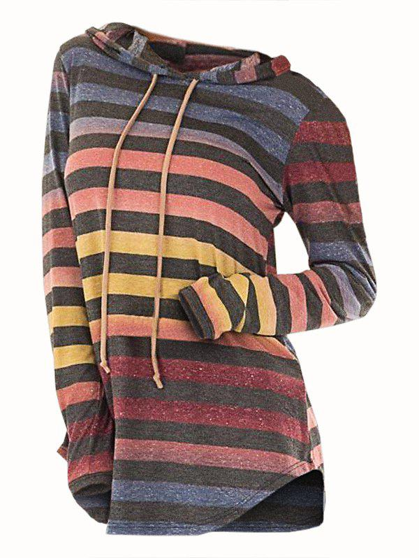 Colorblock Striped Hooded Longline Knitwear - multicolor 2XL