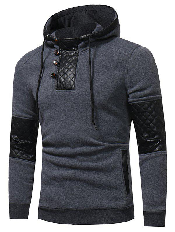 Faux Leather Patchwork Spliced Button Hoodie - DARK GRAY XS