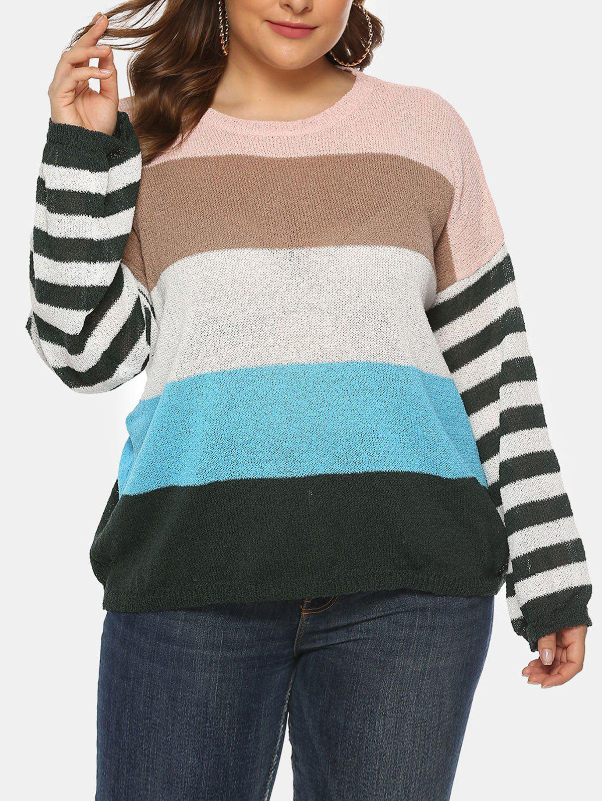 Plus Size Striped Colorblock Drop Shoulder Sweater - DEEP SKY BLUE 1X