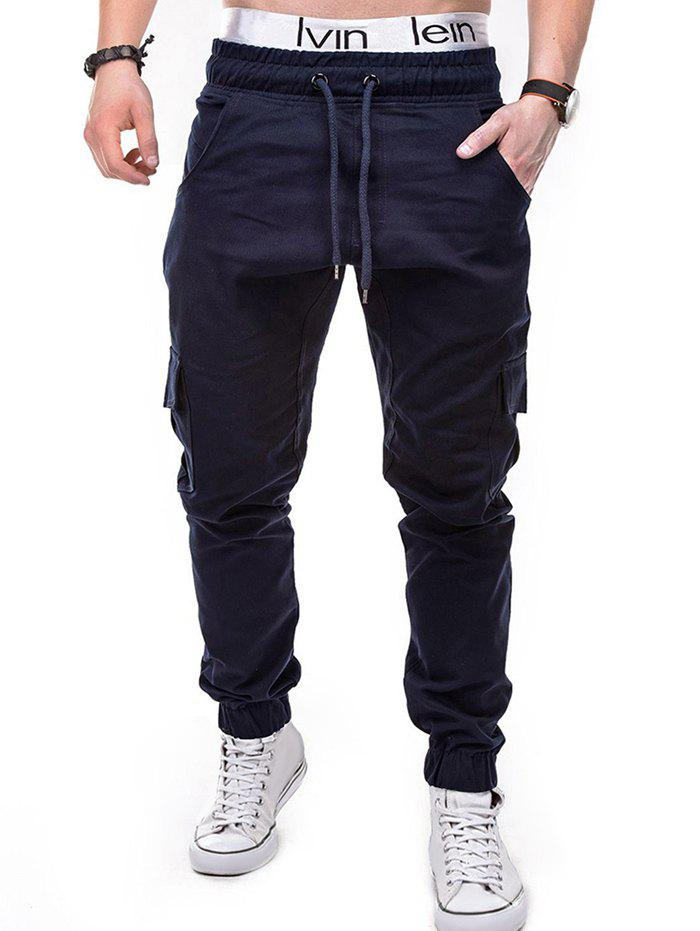 Solid Color Flap Pocket Drawstring Jogger Pants - CADETBLUE XL