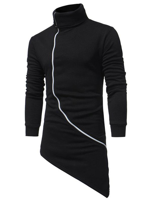 High Low Zipper Solid Longline Fleece Zipper Sweatshirt - BLACK 2XL