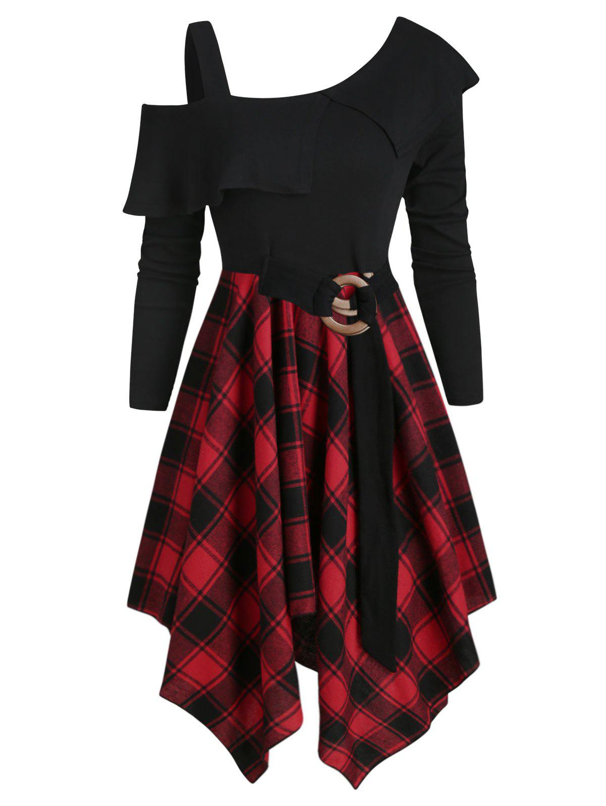Plaid Skew Neck Belted Handkerchief Dress - RED WINE S