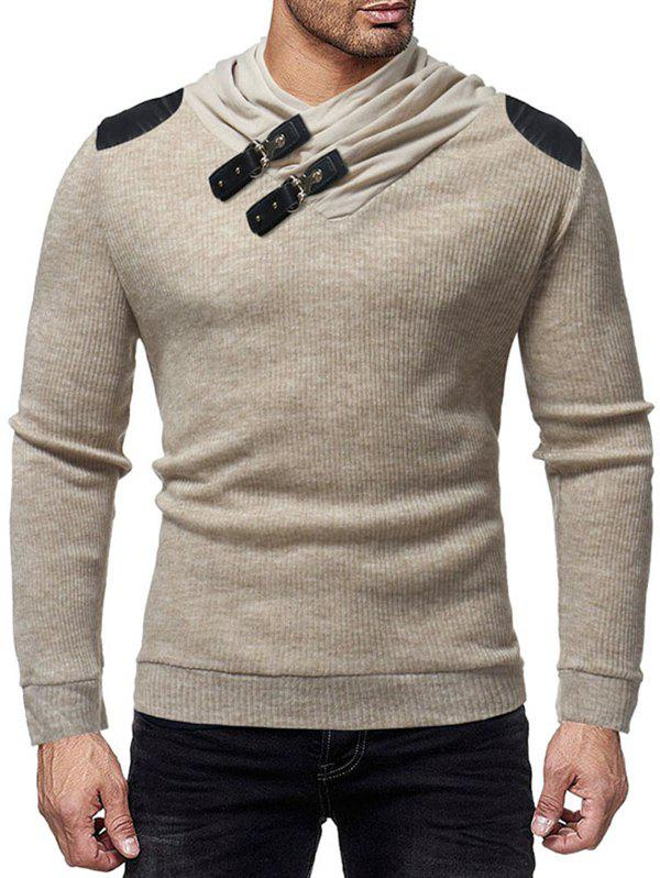 PU Leather Patched Shawl Collar Sweater - KHAKI S