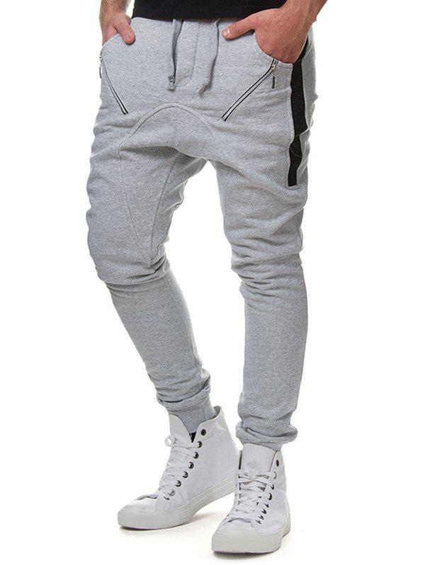 Zipper Pocket Colorblock Spliced Sport Jogger Pants - LIGHT GRAY XL