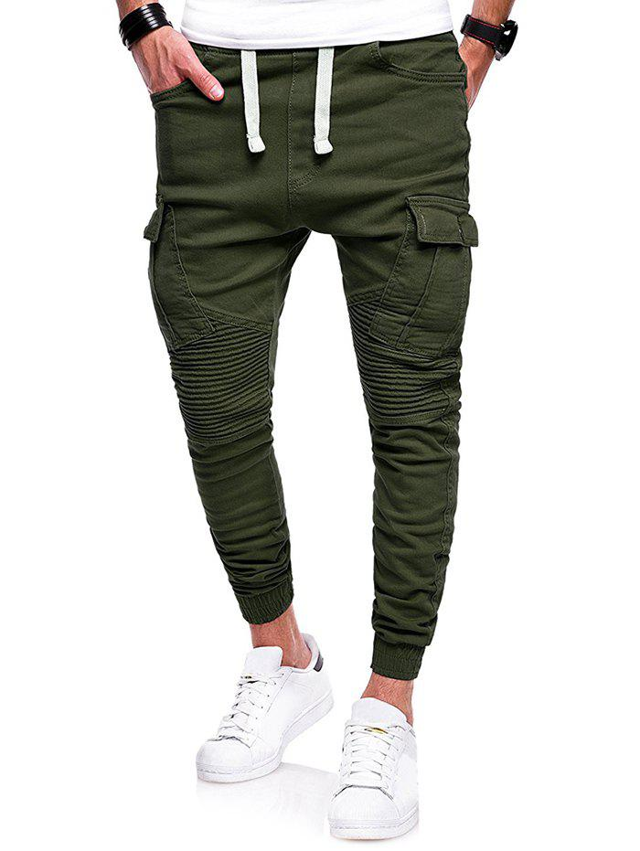 Pleated Spliced Flap Pocket Drawstring Jogger Pants - ARMY GREEN L