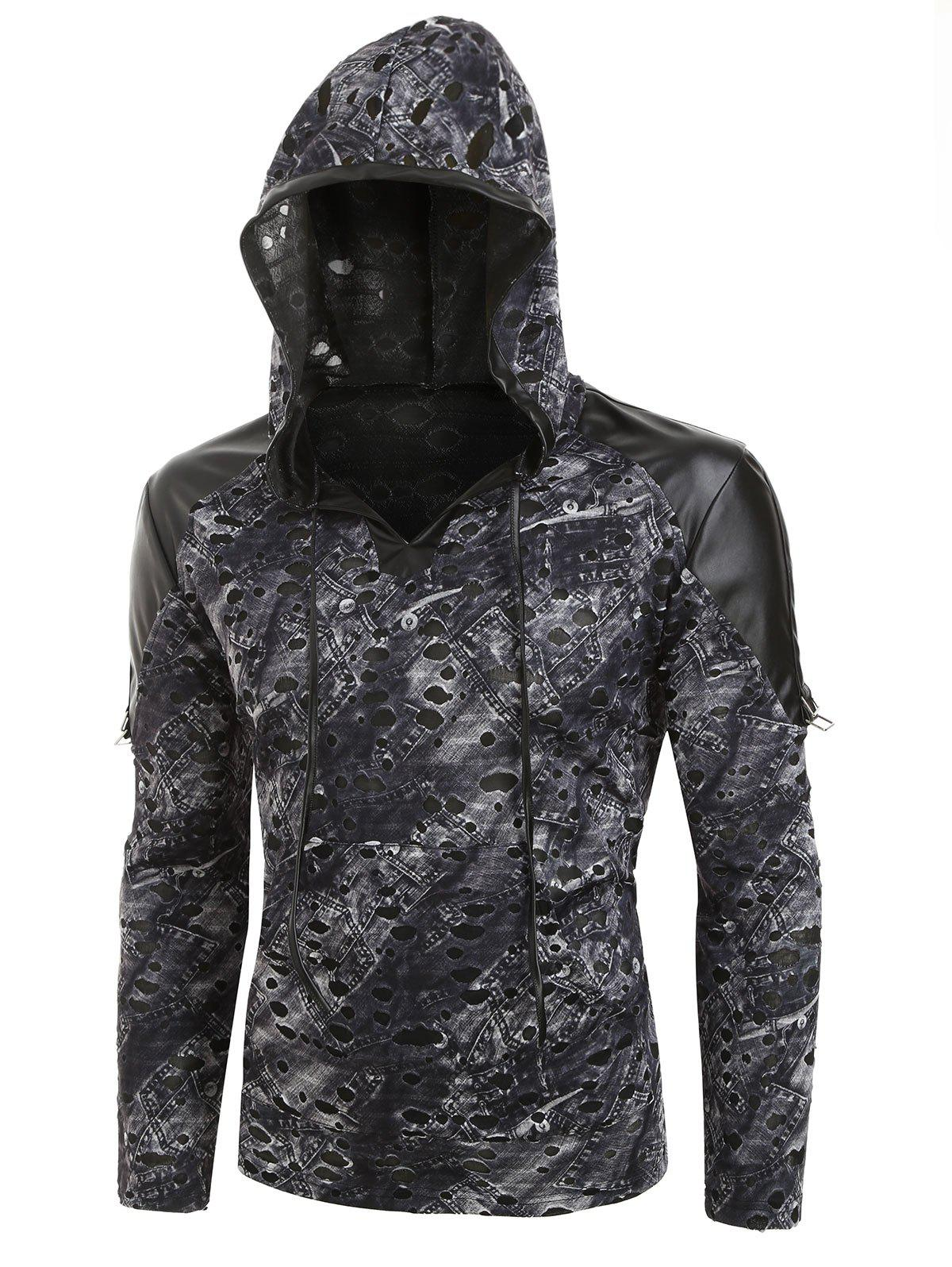 Destroyed Pocket Decoration Hoodie - CARBON GRAY 2XL