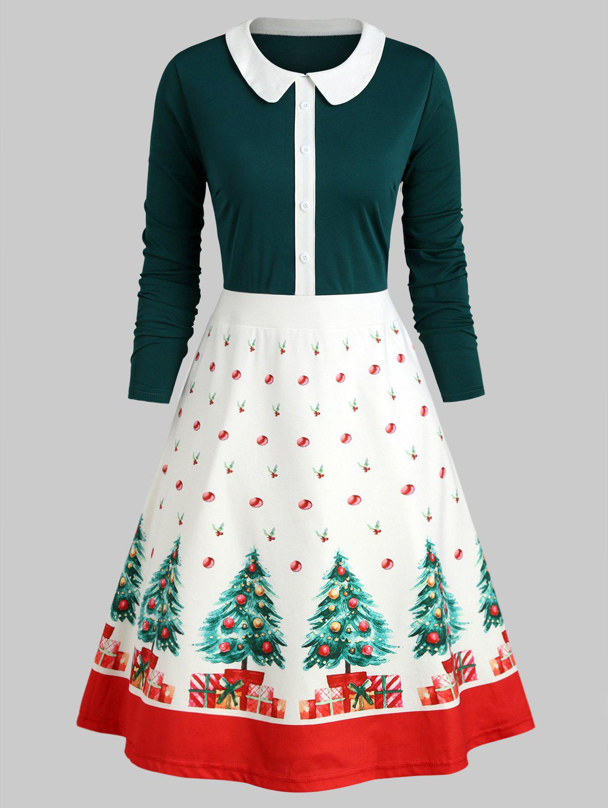 Christmas Tree Buttons Peter Pan Collar Dress - DARK GREEN XL