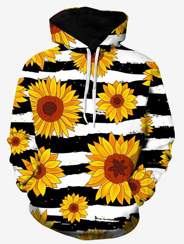 Sunflower Striped Print Hoodie - multicolor 2XL