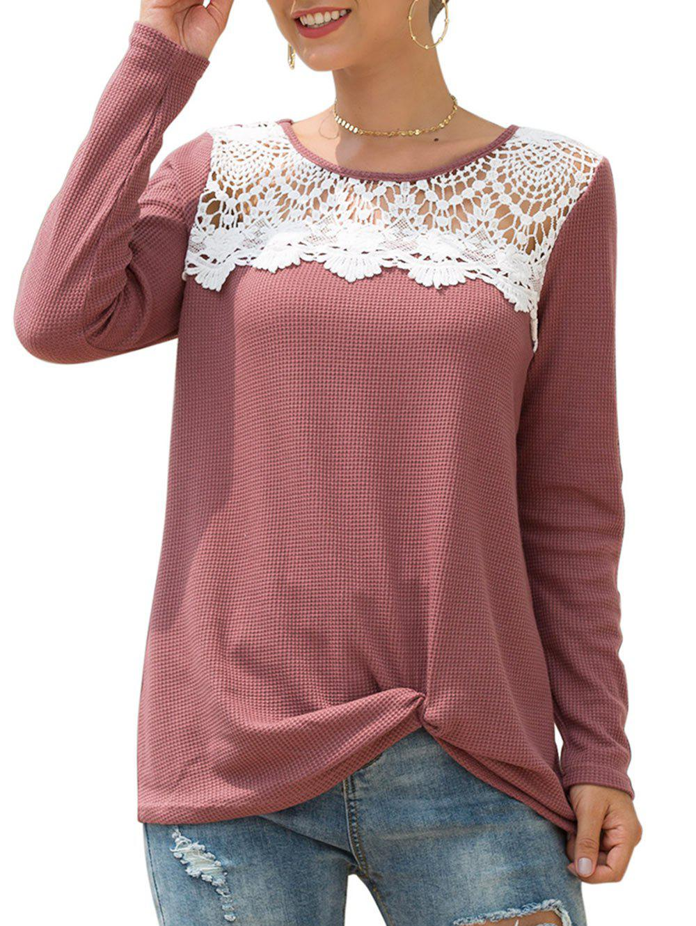 Crochet Panel Twisted Knit Long Sleeve Tunic Tee - BEAN RED XL