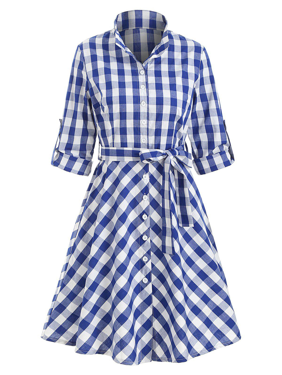 Button Up Plaid Belted Flare Dress - BLUE L