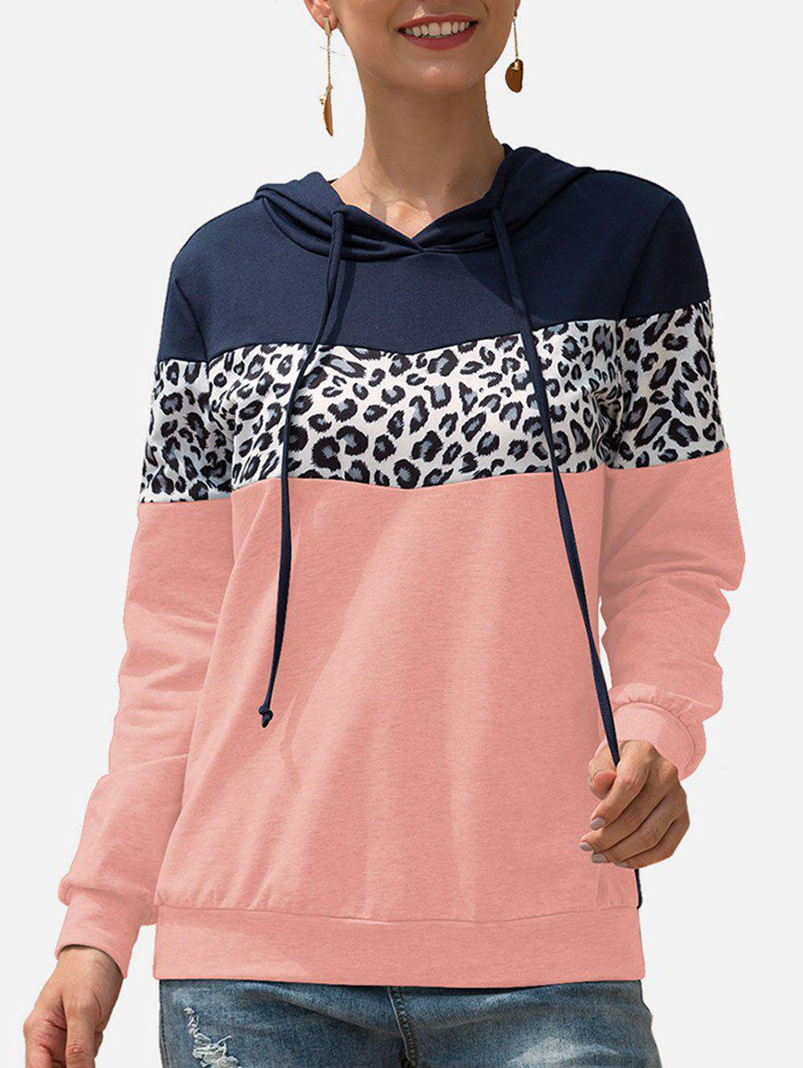 Sweat à Capuche Léopard Contrasté en Blocs de Couleurs à Cordon - Rose XL