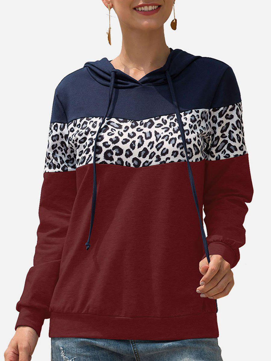 Leopard Color-blocking Contrast Drawstring Pullover Hoodie - RED WINE XL