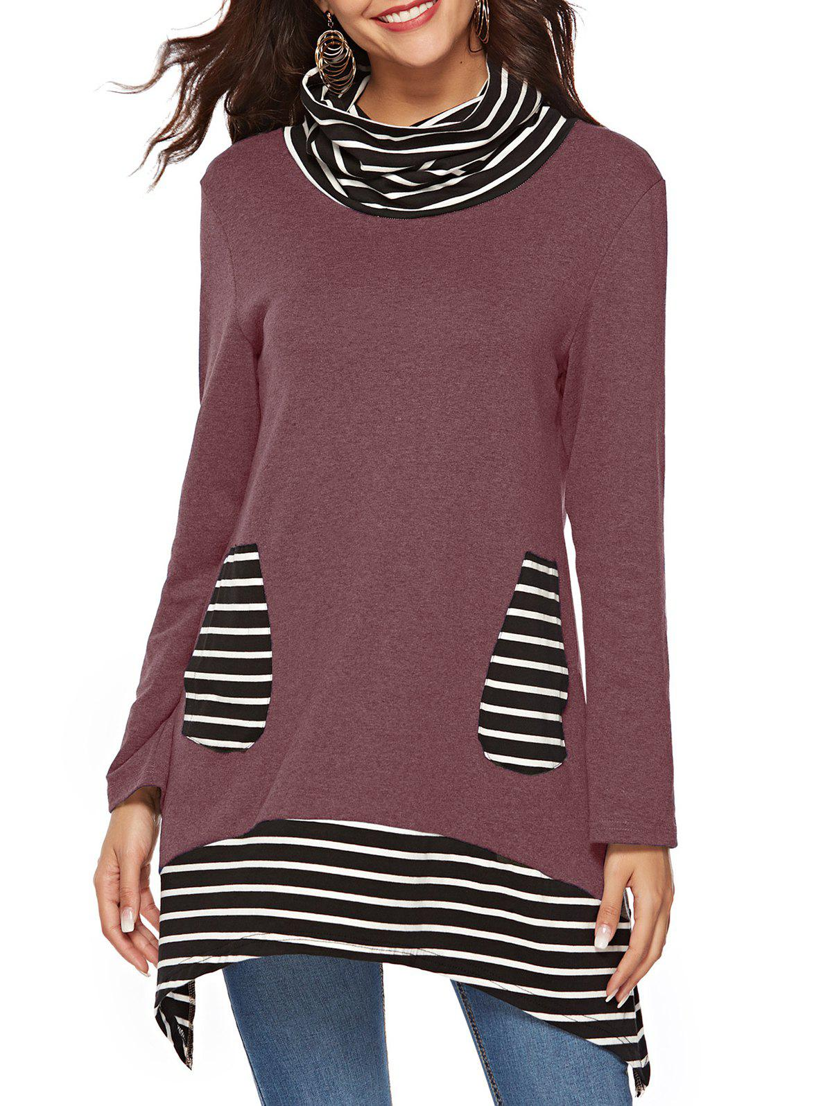 Cowl Neck Striped Pockets Asymmetric Tee - TULIP PINK M