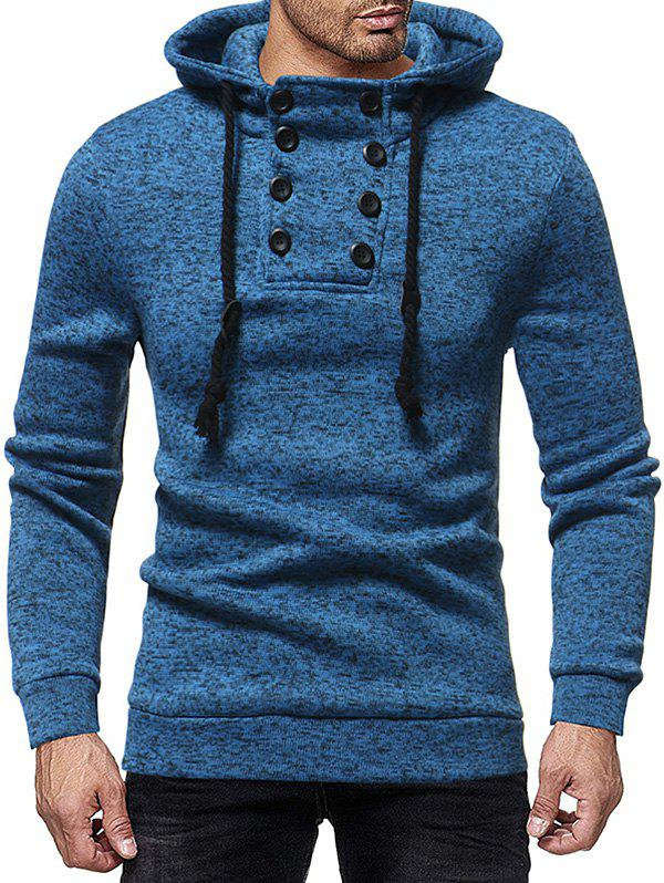 Space Dye Pattern Quarter Button Drawstring Knit Hoodie - BLUE XS