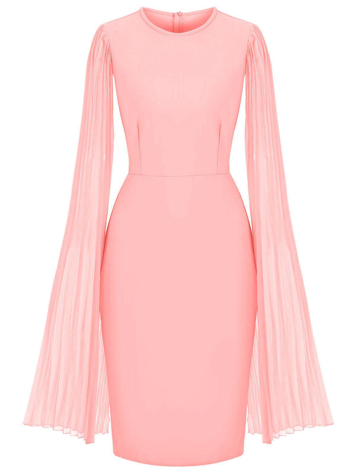 Pleated Split Sleeves Chiffon Panel Sheath Dress - PINK M