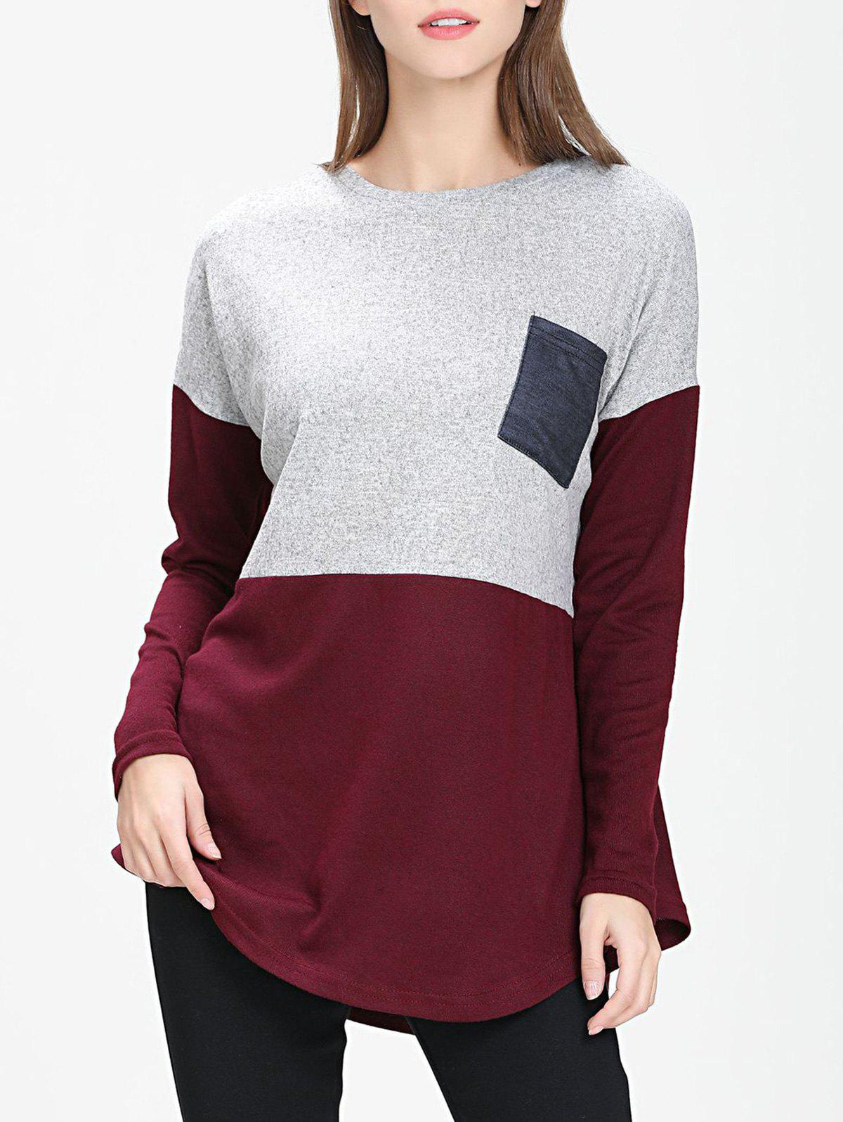 Front Pocket Colorblock Tunic Sweater - RED WINE M